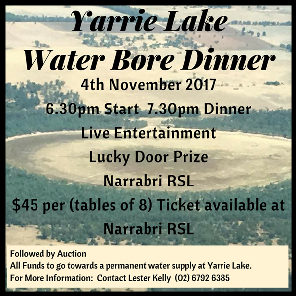 Full House for the Yarrie Lake Fund Raising Dinner